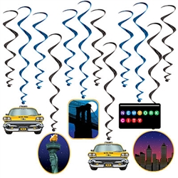 Add the feel and look of New York City icons to your New York City themed party venue.   These colorful and fun whirls will add interest, movement and depth to your decorations.  Easy to hang with attached hooks and reusable with care.  12/package.