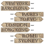 Take your guests on an Around the World trip in your own home with these Around The World Street Sign Cutouts.  Each package comes with 4 pieces printed both sides on high quality cardstock.  Easy to hang and reusable with care.