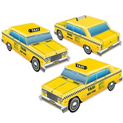 These 3-D Taxi Cab Centerpieces are sure to get your motor running!  Add these detailed, bright, colorful taxis to your party table and you'll have your guests thinking they're on a New York Street corner!  Each package comes with 3 taxis.