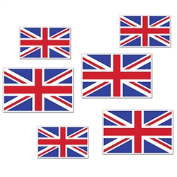 Planning a British or International themed party?  Looking for a classroom or social club decoration that looks great?  This set of British Flag cutouts is just what you're looking for!  Each package includes 6 cutouts ranging in size from 3 to 5.75 inc.