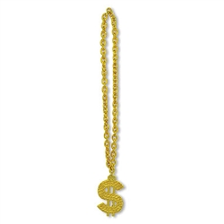 "It's big, it's gold, and it practically screams money!  You'll have a fortune in fun when you wear this Gold Chain Beads with ""$"" Medallion!  38 inches total length, the chain is 33 inches long and the ""$"" is 5 tall by 3 inches wide."