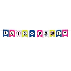 Let your party go to the dogs . . .and cats with this this fun Let's Pawty Streamer!  The streamer comes with 12 feet of cord to make hanging easy and includes 10 4.5 x 6 inch cards.  Printed one side on high quality cardstock.