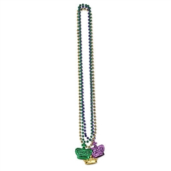 Get ready for Mardi Gras in style with these bright, eye catching Beads with Crown Medallions.  Each package included one gold, one purple and one green 33 inch long bead string with matching crown medallion.  Crowns are 1.75 inches wide, 2 inches tall.