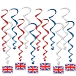 Evey British themed party needs Union Jack.  With these British Flag Whirls you get the flag plus motion, color and depth and interest as a bonus!  Sold 12 per package, includes 6 x 17.5 inch plain whirls and 6 x 31 inch whirls with Union Jack danglers.