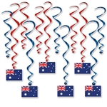 Planning an Australia themed party or sending someone off for a trip of a lifetime Down Under?  Add color, movement and interest to your party with this set of Australian Flag Whirls.