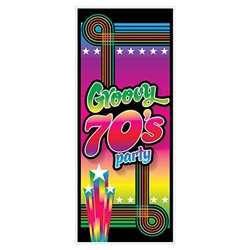 You'll have the grooviest party on the block with this 70's Groovy Party Door Cover.  Use it on the front door so the cool cats know where the party is or use it inside on a door or wall for that 70's neon look.