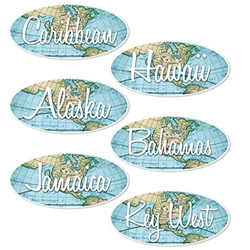 Sending someone off on a dream Around the Word vacation?  Throw the best Bon Voyage party ever with these Bon Voyage Sign Cutouts. They'll add color and interest to your decor without breaking the bank.  Printed both sides on high quality cardstock.