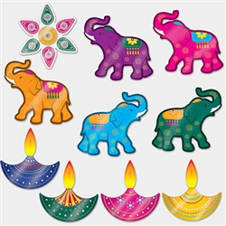 Whether you call it Diwali, Divali, Deepavali, or Deepawali; these beautiful Foil Diwali Cutouts are sure to shine and sparkle during your festival of lights.  Each package comes with 10 pieces ranging in size from 10 to 11.5 inches.