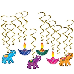 How do you add interest, color and movement to your Diwali celebration?  Hang these colorful and kinetic Diwali Whirls!  Each package includes 12 whirls.  6 are 15 inches long without danglers, 6 are 28.5 inches long with danglers.