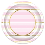 Add class and color to your celebration with these Striped Plates in Pink, White and Gold. Each package contains 8  nine inch diameter plates. Please Note: Plates are not microwave safe.