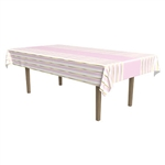 Whether you're decorating for a 1st birthday celebration, baby shower, or just want a striking table cover; this Striped Tablecover in Pink, White and Gold will be perfect.  It measures 54 inches wide by 108 inches long.  It's made of plastic.