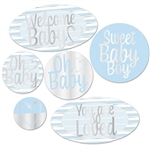 "Here's a great, tasteful and fun way to say ""Welcome Baby"" at your baby shower party!  These bright and visually interesting foil cutouts add the perfect finishing touch to your decor.  Printed both sides, the cutouts range in size from 5 to 13.75 inches."