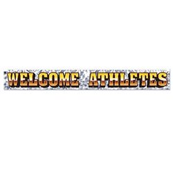 Whether your hosting a sports themed party or organizing an athletic competition; you'll want to add this 5 foot long Welcome Athletes metallic fringe banner to your set-up.  Eye catching, bright and kinetic this colorful banner sets just the right theme.
