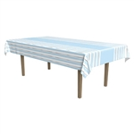 Whether you're decorating for a 1st birthday celebration, baby shower, or just want a striking table cover; this Striped Tablecover in Blue, White and Silver