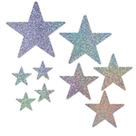 ceiling or place them flat on a table; they'll s glitter and shine in the light.  Perfect for space, fantasy, Hollywood and awards night themed parties!  Each package includes 9 pieces ranging in size from 5 to 15 inches.