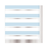 Add class and color to your celebration with these Striped Luncheon Napkins in Blue, White and Silver.  Each package contains 16 two-ply napkins.  Napkins measure 12.88 x 12.88 inches.  Please Note: Napkins are not microwave safe.