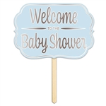Make finding the party easy with this Foil Welcome To The Baby Shower Yard Sign in Blue.  This 15 inch wide by 10.5 inch tall yard sign is the perfect way to make sure your guests find the right place!
