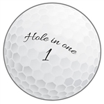"Here's a great way to get the golfer in your family off the links - throw them a golf themed party!  This ""Hole in One"" cut out will look fantastic as part of your party's theme.  Printed both sides on high quality cardstock, measures 10"" in diameter."