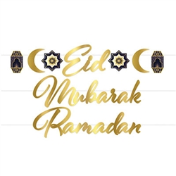 "Add a golden accent to your Ramadan observances with this Gold foil Ramadan Streamer set.  This two in one set comes complete with 7.25 inch tall lettering for either ""Ramadan: or ""Eid Mubarak"".  Simple assembly is required, 12 feet of white ribbon includ"