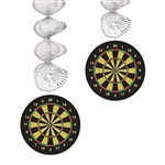 Add motion, color, and sparkle and shine to your dart or British themed party with these Dartboard Danglers.  Sold two per package they're completely assembled and easy to hang.  Foil dangler measure 30 inches when extended, dartboard are 5 inch diam.