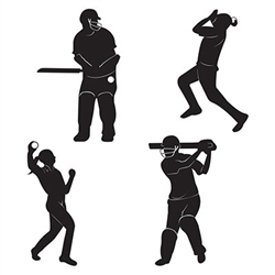 Will you have a wicket at your next sports themed party?  Then you need these Cricket-Player Silhouettes!  Each package includes 4 silhouettes that capture the motion, energy and vibrancy of cricket.  Printed both side on high quality cardstock.