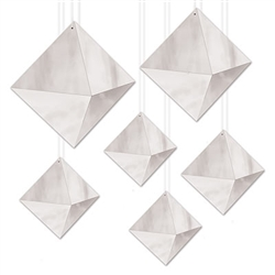 Add a striking geometric accent to your party for a classic, clean style.  These 3-D Foil Diamonds in Silver are eye catching and guaranteed to be a decor focal point.  Some assembly is required.