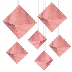 Add a striking geometric accent to your party for a classic, clean style.  These 3-D Foil Diamonds in Rose Gold are eye catching and guaranteed to be a decor focal point.  Some assembly is required.  Sold 6 per package.