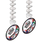 Celebrate an international sport in style with these colorful and eye catching Rugby Ball Danglers.  They'll add color, movement, depth and interest to your Rugby, British, or Australian themed party decorations.  Sold 2 per package., the danglers are 30