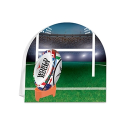 You'll be the game's hero at your Rugby themed party or awards dinner with this full color 3-D Rugby Centerpiece.  It looks great on a serving table, as a decoration on a shelf or as the focal point on a beverage table.