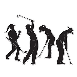 to add the extra touch to complete your golf themed decor.  Each package comes with 4 silhouettes that measure from 9.75 to 14.5 inches tall.  Printed both sides on high quality cardstock.  After the party, hang these silhouettes on a game or family room!