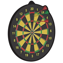 This Dartboard is a colorful and fun addition to your British or pun themed party decor.  A full 10 inches tall, this Dartboard decoration is printed both sides on high quality cardstock.  Hang from the ceiling or on a wall.