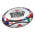 Whether you're having a Rugby themed party, or a British or Australian themed celebration - this colorful Rugby Ball Cutout should be a part of your party's decor! The cut out measures 14 inches wide by 9 inches tall.