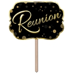 It's been years, and now it's time to bring the gang together again.  Make sure everyone knows exactly where the party is with this Reunion Yard Sign. Printed gold on black on both sides,  15 inches wide, 10 inches tall, 13 inch ground stake.