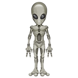 "Add an out-of-this-world guest to your party with this 40"" tall Jointed Alien!  This -possibly- life sized cutout is printed on high quality card stock with pivot joints at shoulders, elbows, hips and knees."