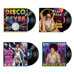 Break out your bell bottoms and platform shoes!  You'll have a blast getting your groove on at your next 70's or Disco themed party when you add these Disco Album Cutouts to your decorations.