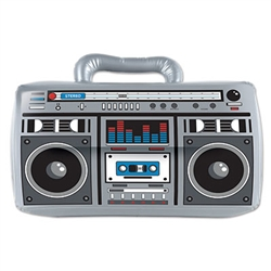 The 80's  - big cell phones, big hair, and big boomboxes!  Add this classic 80's icon to your next decade themed party for a fun throwback.  Your guests won't be able to resist putting it on their shoulder!  Boom box is 16 inches wide by 11 Inches tall.