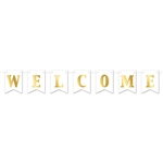 Welcome your guests or loved ones in style with classic Foil Welcome Streamer.  Easy to hang with the included 7 feet of ribbon.  The letter cards are 4 1/2 inches wide by 6 inches tall with gold foil lettering.  Some simple assembly required.