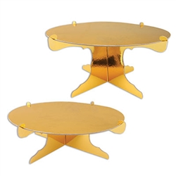 No matter what you're celebrating, this Metallic Cake Stand will add an elegant and eye catching display to your table.  Sold 2 per package, you'll double the effect! Made of cardstock with a gold metallic foil finish. 12 inch diameter.