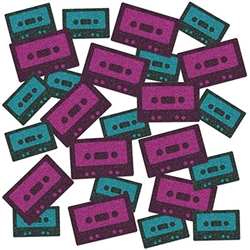 Nothing defines the decades like the music, and how we listened to it!  Get back to the 80's with this fun and eye catching Cassette Tape Deluxe Sparkle Confetti.  It will look great sprinkled on your dinner, dessert or treat table.