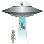 Take your space themed party out of this world with this Jumbo Flying Saucer Cutout Set!  It includes everything you need for an alien abduction including: 1 - 39 inch Flying Saucer, 1 - 36.75 inch Tractor Beam, 2 - 12.5 inch tall aliens.