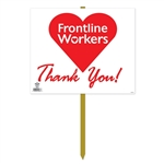 Proudly display this 15 x 12.25 Frontline Appreciation Yard Sign in your yard! Sold one per package, these bright signs are printed both sides on high quality cardstock.  One side says thank you to frontline workers, the other to healthcare workers.