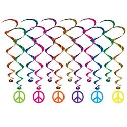 "Get your 60's themed party in the groove with these colorful Peace Sign Whirls.  It's easy to add eye-catching color, motion and interest with these vibrant whirls.  Package includes 6 17 1/2 inch plain whirls and 6 32"" whirls with Peace Sign danglers."
