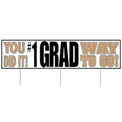 Say congratulations in a big way with this All Weather Jumbo #1 Grad Yard Sign.  Made of corrugated plastic, includes 3 15 inch long spikes for mounting in the yard.