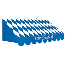 Create the fun and excitement of Oktoberfest wherever you're having your party with this 3-D Oktoberfest Awning Wall Decoration.  In classic blue and white pattern, this 3-D awning is printed both sides on high quality cardstock.