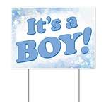 "You're a proud new parent, so make sure everyone knows! This all weather ""It's A Boy"" yard sign is a great way to do it. The sign is made of corrugated plastic, perfect for indoors or out. Measures 12 inches tall by 16 inches wide."