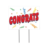 Congratulate your graduates in style.with this 12 x 16 inch Congrats Yard Sign. Measuring 12 inches tall by 16 inches wide, it's perfect for drive-by celebrations. Made of corrugated plastic sign so it will withstand the elements.