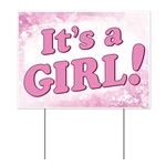 "You're a proud new parent, so make sure everyone knows!  This all weather ""It's A Girl"" yard sign is a great way to do it.  The sign is made of corrugated plastic, perfect for indoors or out.  It measures 12 inches tall by 16 inches wide."