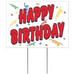 Perfect for drive-by celebrations, this corrugated plastic sign can withstand the elements and looks great in your yard.  Simple assembly required, comes with two 15 inch long metal stakes.  Also easy to hang on a wall or suspend from a ceiling.
