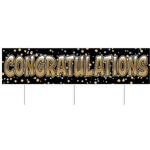 Say congratulations in a big way with this All Weather Jumbo Congrats Yard Sign.  Made of corrugated plastic, includes 3 15 inch long spikes for mounting in the yard.