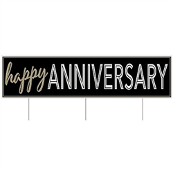 It doesn't have to be a milestone anniversary to say Happy Anniversary in a big way.  This All Weather Jumbo Happy Anniversary Yard Sign is sure to put a smile on that special someone's face!  Includes three 15 inch long metal spikes for yard mounting.